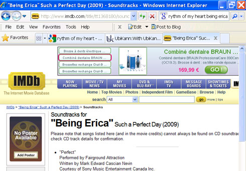 Being Erica displays Oral B advert